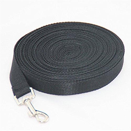 WZYuan 30ft Black Nylon Pet Leash Training Lead (Black)