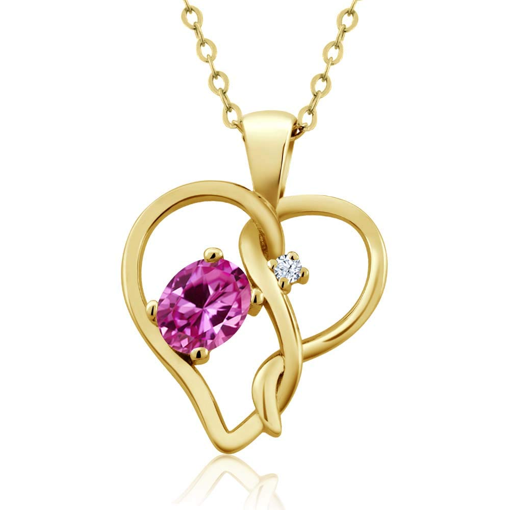 Gem Stone King 0.51 Ct Oval Pink Created Sapphire 18K Yellow Gold Plated Silver Pendant