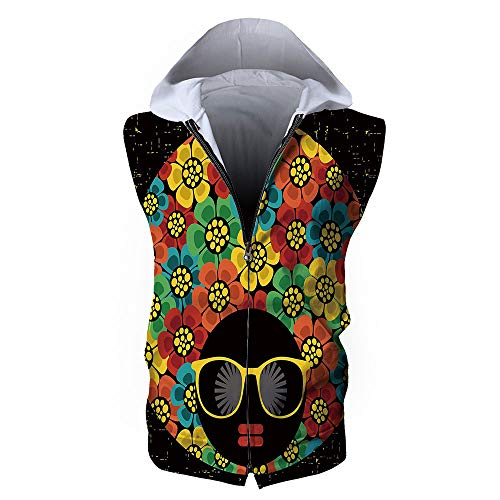 iPrint Men's Casual Gilet,70s Party Decorations,Abstract Woman Portrait Hair Style with ()