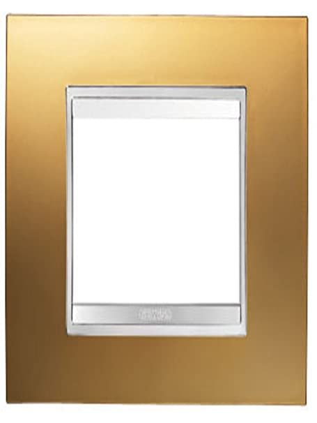 Gewiss GW16203MO Chorus Lux 3-position light switch plate. Gold ...