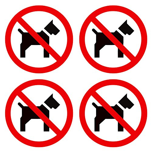 No Pets Allowed Sign (dealzEpic - No Pets Inside/No Pets Allowed Sign | Self Adhesive Vinyl Decal Sticker | Pack of 4 Pcs)