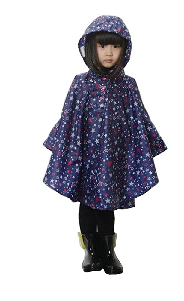 Elufly Kids Stars Hooded Raincoat Cute Rain Jacket Poncho for Girls Boys
