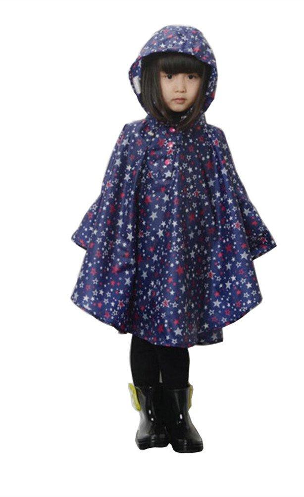 Elufly Kid's Stars Hooded Raincoat (L, Blue)
