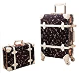 Urecity PU Leather Floral Printing Spinner Retro Luggage and Cosmetic Bag 2PCS Set - 20 Inch Black Set