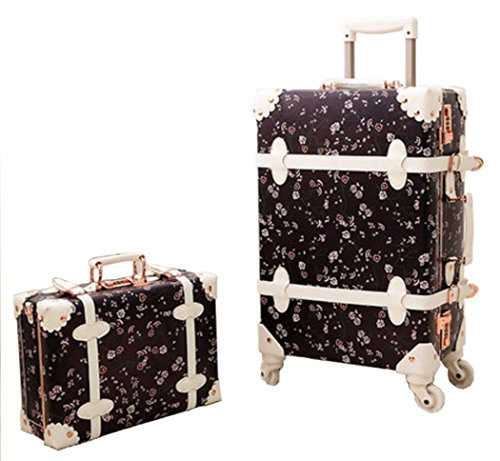 Urecity PU Leather Floral Printing Spinner Retro Luggage and Cosmetic Bag 2PCS Set - 20 Inch Black Set by Urecity