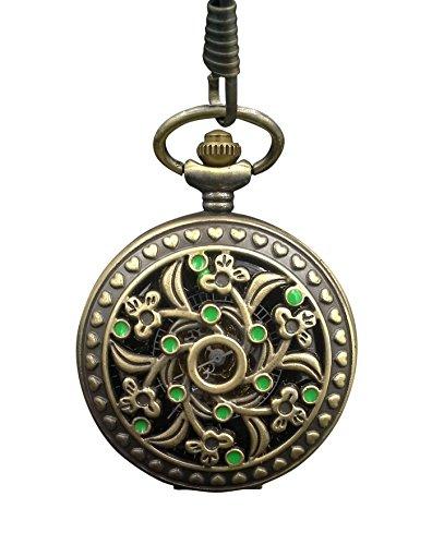 ShoppeWatch Pocket Watch Floral Filigree & Green Dots Mechanical Hand Wind Steampunk Half Hunter PW-187