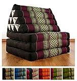 Three Fold Thai Cushion, 67x20x3 inches (LxWxH), 100 % Natural Kapok Filling, Foldable Thai Mat with Triangle Cushion, Headrest, Thai Pillow