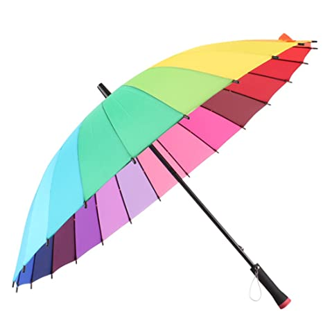 b03070db93512 Image Unavailable. Image not available for. Color: LAAN 24k Rib Large Color  Rainbow Umbrella Fashion Long Handle Straight ...