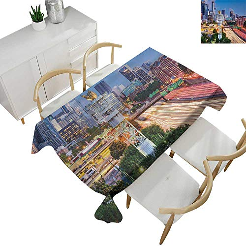 United States,Tablecloth Rectangular Atlanta Georgia Urban Busy Town with Skyscrapers City Landscape Waterproof Table Cover for Kitchen Pale Blue Yellow Coral 70