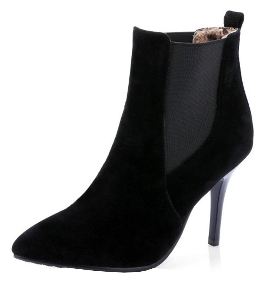 SHOWHOW Damen High Heels Spitze Kurzschaft Stiefel Mit Absatz Schwarz 34 EU dbUeZCIqv