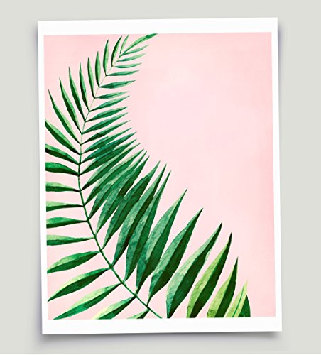 Tropical Foliage Watercolor Palm Frond Art Pink and Green Un