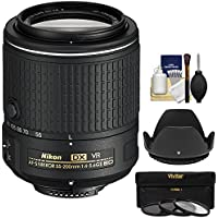 Nikon 55-200mm f/4-5.6G VR II DX AF-S ED Zoom-Nikkor Lens with 3 Filters + Hood Kit (Certified Refurbished)