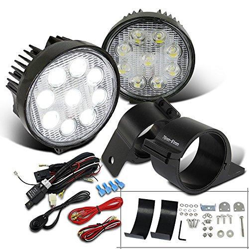 (Spec-D Tuning LF-4009RNDX2-UNV300 Fog Light (LED Round Work Wiring Switch Kit Mounting Bracket))