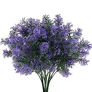 NAHUAA 4Pcs Artificial Plastic Plant Fake Greenery Shrubs Faux Bushes Bundles Indoor Outdoor Home Kitchen Office Windowsill Table Centerpieces Arrangements Spring Decorations Spray in Purple 119
