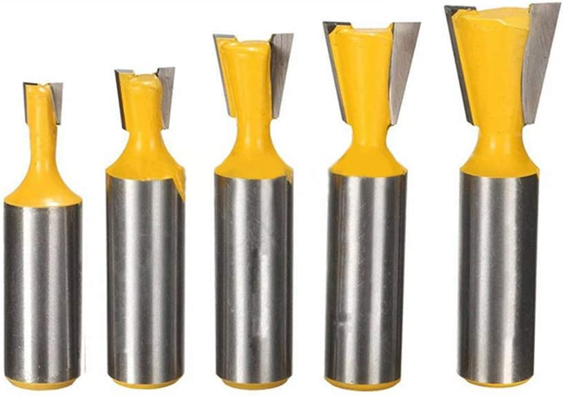 Hymnorq 1/2 Inch Shank Dovetail Router Bit Set of 5PCS to Fit Most Jigs and Make Strong and Beautiful Dovetail Joints for The Construction of Boxes Drawers Chests and Fine Casework in Woodworking