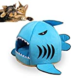 Shark Bed for Small Cat Dog Cave Bed Removable Cushion - waterproof Bottom Most Lovely Pet House Gift for Pet … (S - Blue)