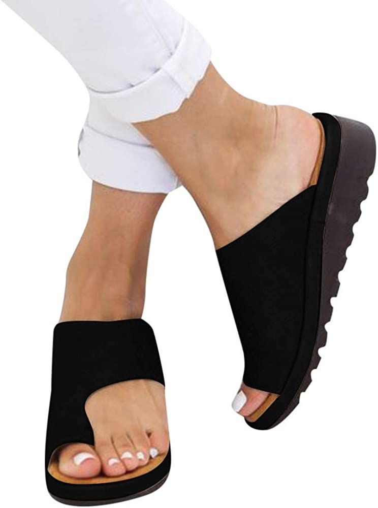 Orthopedic Toe Wedge Sandals for Women Summer Flip Flops Beach Shoes Roman Slippers Foot Bunion Corrector