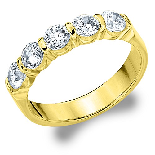 14K Yellow Gold Diamond Bar Set Wedding Band (1.0 cttw, H I Color, I1 I2 Clarity)