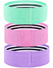 ZoneYan Weerstandsbanden, stoffen set van 3, glutenbanden voor dames, buizenband, heupweerstandslus, elastische heupcirkel, 3 weerstandsniveaus, trainingsbanden