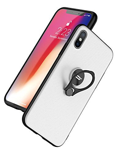 iPhone X Case, Slim Fit Shell Hard Plastic with Adjustable Ring Holder Stand Anti-Scratch Resistant Cover Case for Apple iPhone X 2017 Release 5.8 inch -  White
