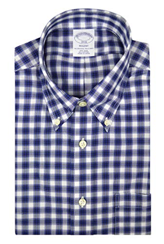 Brooks Brothers Mens Regent Fit All Cotton The Original Polo Button Down Shirt Blue White Check (M) from Brooks Brothers