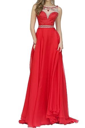 Prom Style Schlank A-linie Chiffon Abendkleider Ballkleider ...