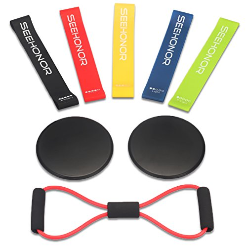Resistance Bands and Core Sliders, SEEHONOR Resistance Loop Bands Dual Sided Gliding Discs and Exercise Band, 80 Day Obsession Equipment For Awesome Core, Legs, Abs Workouts by SEEHONOR