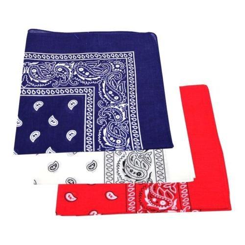 Red, White & Blue Paisley Bandanas 100% Cotton (12 Pack) 22