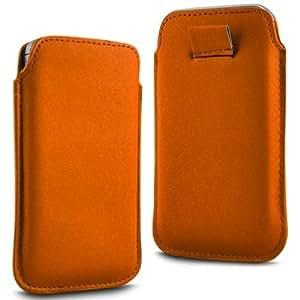 Direct-2-Your-Door - Sony Xperia M Prima Soft PU Caso ficha de extracción Funda de cuero Flip - Naranja
