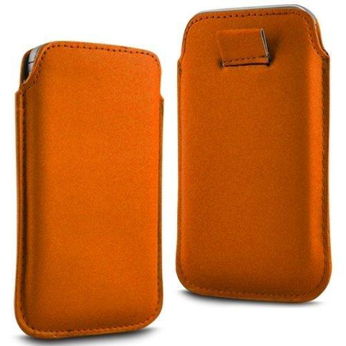 N4U Online - Apple Iphone 4S premium PU cuir souple Tirez Retourner Tab Housse Etui - Orange