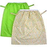 K.T. FANCY 2 Pack Reusable Pail Liner Wet Bag for Cloth Diaper, Laundry, Kitchen Garbage Cans | Eco-Friendly Large Capacity Waterproof Washable (Green + White Flower)