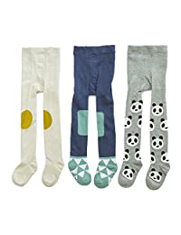 Baby Girls Tights 3-Pack Cotton Legging Pants Infant Toddler Kids 2T-3T #1 Blue Geometry