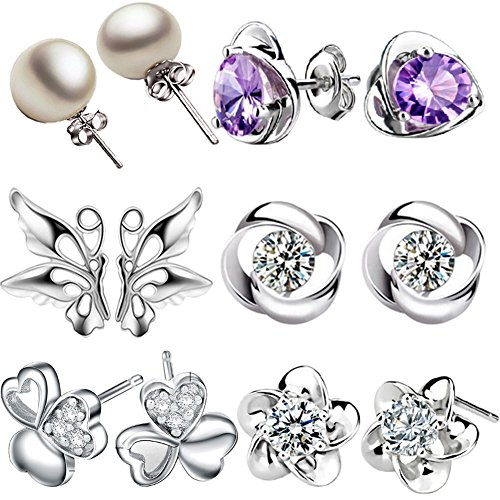 12 Pieces Small Cute Simple Post Stud Earrings Set for Girls Kids Silver Tone Mix and Match
