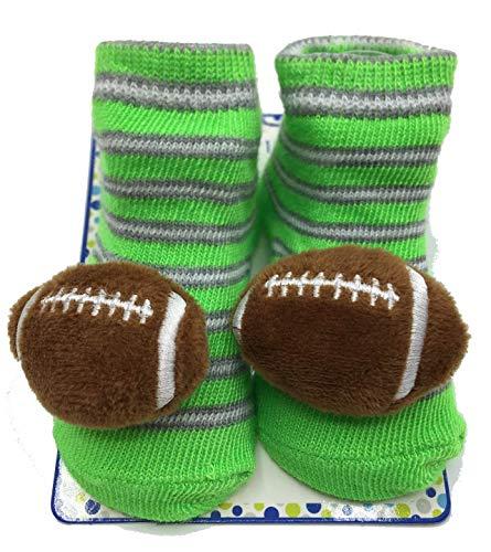 (Zak & Zoey 3D Baby Socks 0-12 Months (Green Football))