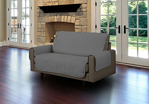 Linen Store Quilted Microfiber Pet Furniture Protector Cover With Tucks And Straps, Grey, Loveseat