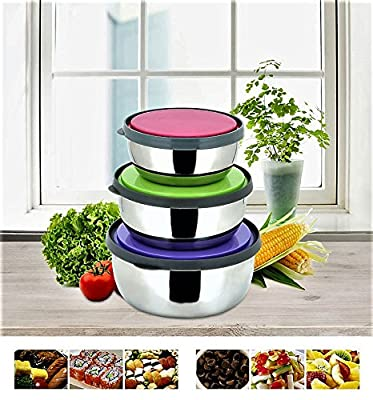 Stainless Steel Food Storage Container Lunch box for babies, Kids, Adults, BPA-Free, Nontoxic, Dishwasher Safe, Eco-Friendly and resis-tant-3 color set 4.7-5.5-6.3 INC-BONUS: 4 Bag-Seal Sticks 4.7 IN