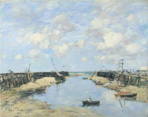 'Eugene Boudin - The Entrance to Trouville Harbour,1888' oil painting, 8x10 inch / 20x26 cm ,printed on Perfect effect Canvas ,this High Definition Art Decorative Prints on Canvas is perfectly suitalbe for Kids Room artwork and Home artwork and Gifts (Harbour Ornament Lights)