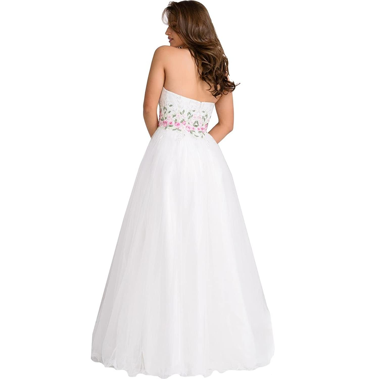 JVN by Jovani Womens Rhinestone Strapless Formal Dress - White -: Amazon.co.uk: Clothing