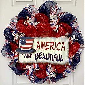 America The Beautiful Rustic Patriotic Handmade Deco Mesh Wreath With Uncle Sam Hat 36