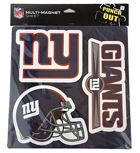 New York NY Giants NFL Multi-Magnet Sheet (Helmet-Team-Jersey Logos) Heavy Duty Punch Out by Forever Collectibles