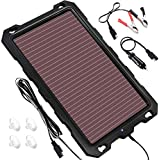 POWOXI Solar Battery Charger Car, 3.3W 12V Solar Trickle Charger Car Battery, Portable Waterproof Solar Battery Maintainer, Amorphous Silicon Solar Panel car Battery Charger