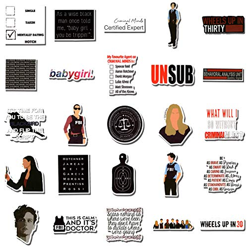 50Pcs Criminal Minds Stickers TV Show Fans Laptop Stickers Vinyl Waterproof Sticker Decals for Water Bottle Luggage Skateboard Bicycle Refrigerator Gift for Kids Adult