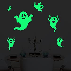 Six Timid Ghosts Wall Decals Halloween Decorations Glow in The Dark, XYIYI Spooky Wall Stickers for Halloween Party Kids Home Room Décor
