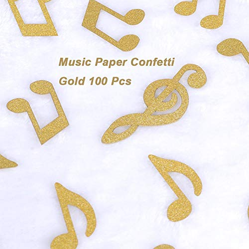 Gold Glitter Music Note Paper Confetti Table Confetti,Music Clef Table Confetti for Music Themed Events Rock Star Party,Karaoke Party Supplies Decorations Pack of 100