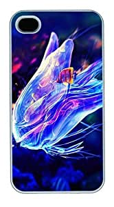 iPhone 4S Cases and Covers,Blue Creative Jellyfish Custom Slim Hard Case Snap-on PC Plastic Case Cover Shell for Apple iPhone 4S/4 White