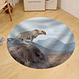 Gzhihine Custom round floor mat Wild African Cheetah Beautiful Mammal Animal. Africa Kenya