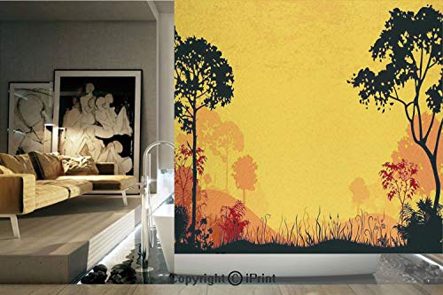 (Decorative Privacy Window Film/Woodland at Sunset Silhouette of Hills Forest Trees Grass Landscape Nature Art /No-Glue Self Static Cling for Home Bedroom Bathroom Kitchen Office Decor Yellow Black)