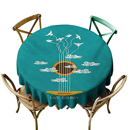 Wendell Joshua Premium Round Tablecloth 50 inch Guitar,Abstract Music Themed with Birds on Strings and Clouds Illustration,Turquoise Marigold White Kitchen Dining Room Restaurant Party Decoration -