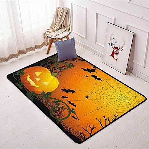 Spider Web Super Soft Round Home Carpet Halloween Themed Composition with Pumpkin Leaves Trees Web and Bats for Sofa Living Room W47.2 x L59 Inch Orange Dark Green Black]()