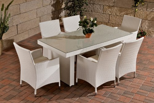 Sitzgruppe, Sitzgarnitur, Gartengarnitur Avignon, Polyrattan ~ creme